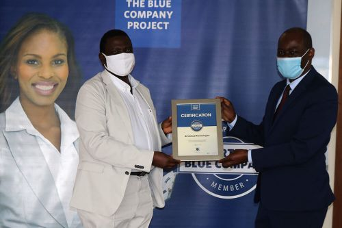 AfroCloud Technologies, Seniour Advisor, Patrick Mtange, receiving the Blue Company Certification from Executive Advisory Board Member of the Blue Company, Dr Julius Kipngetich