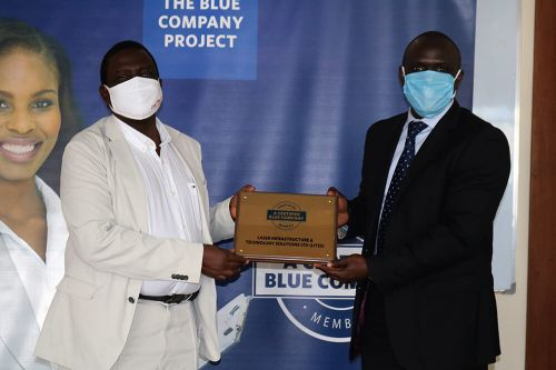 LASER Infrastructure and Technology Solutions (LITES), Head of LITES, Tony Olang' receiving the Blue Company Certification from Executive Advisory Board Member of the Blue Company, Dr Julius Kipngetich